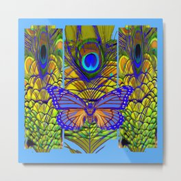 FANTASY PURPLE MONARCH BUTTERFLY PEACOCK FEATHER ART Metal Print