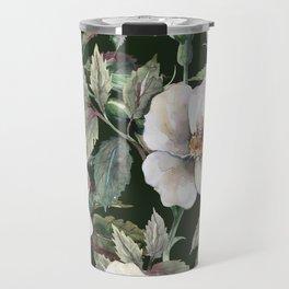 Vintage midnight roses flower garden illustration pattern Travel Mug