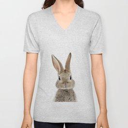 Baby Bunny Portrait Unisex V-Neck