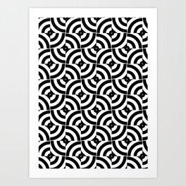Black And White Pop-Art Circles Art Print