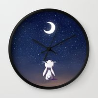 bunny Wall Clocks featuring Moon Bunny by Freeminds