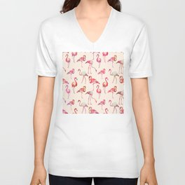 Flamingo Happiness Unisex V-Neck