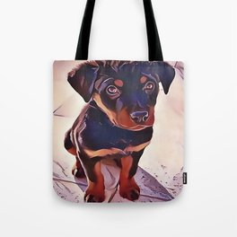 Rottweiler Puppy Born To Be Wild Tote Bag