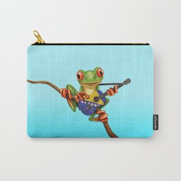 Tree Frog Playing Acoustic Guitar with Flag of Bosnia - Herzegovina Carry-All Pouch