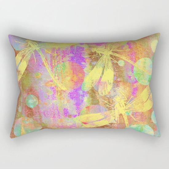 A Dragonflies and Dots Rectangular Pillow