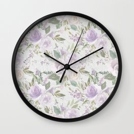 Lavender pastel green white watercolor floral pattern Wall Clock