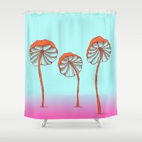 mushrooms Shower Curtains featuring mushrooms by terastar