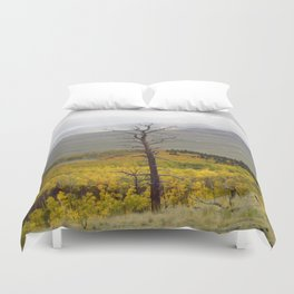 The past still stands tall in forest of  fall Duvet Cover