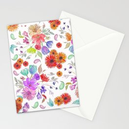 Loose Wild Flowers in Watercolor and Ink Stationery Cards