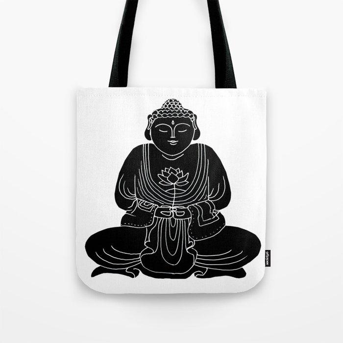 Buddha with Lotus Flower Tote Bag
