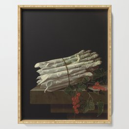 Adriaen Coorte - Asparagus and red currants on a stone ledge Serving Tray