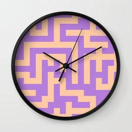 Deep Peach Orange and Lavender Violet Labyrinth Wall Clock