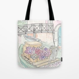 Venice Flower Boat and Cute Cat on Canal Tote Bag