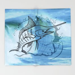 Blue Marlin Throw Blanket