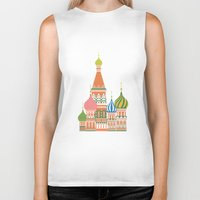 moscow Biker Tanks featuring Moscow by Chay Lazaro