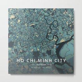 Ho Chi Minh City, Vietnam - Cream Blue Metal Print