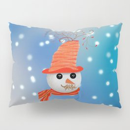 Snowman Christmas Card Pillow Sham