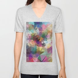 colorful geometric triangle pattern abstract background in pink blue yellow Unisex V-Neck
