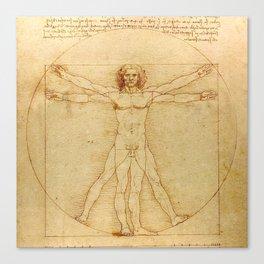 Le proporzioni del corpo umano secondo Vitruvio, Leonardo da Vinci, 1490 Canvas Print