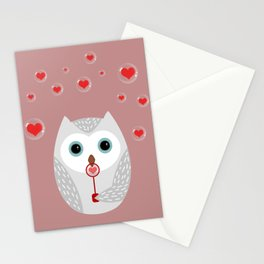OWL, LOVE & BUBBLES (valentine animals heart) Stationery Cards