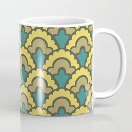 Fan Pattern Yellow Teal and Olive Green 308 Coffee Mug