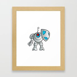 robot with a shield Framed Art Print