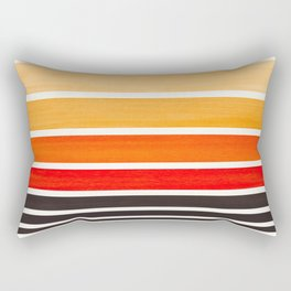 Orange Minimalist Watercolor Mid Century Staggered Stripes Rothko Color Block Geometric Art Rectangular Pillow