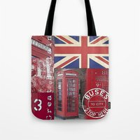british Tote Bags featuring Very British by LebensART