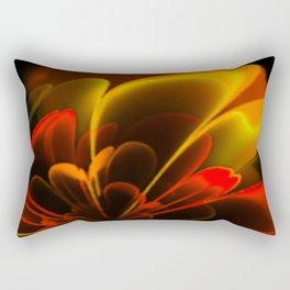 Stylized Half Flower Red Rectangular Pillow