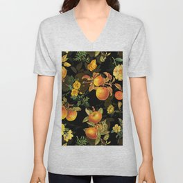 Vintage & Shabby Chic - Midnight Golden Apples Garden Unisex V-Neck