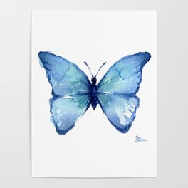 Blue Butterfly Watercolor Poster