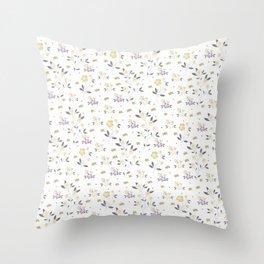 Vintage elegant gold purple rustic floral pattern Throw Pillow