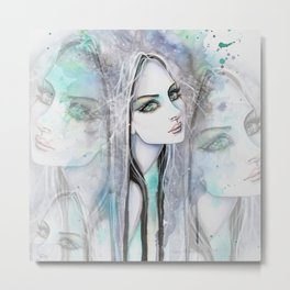 Green Eyed Ghost Modern Art Woman Illustration by Molly Harrison Metal Print