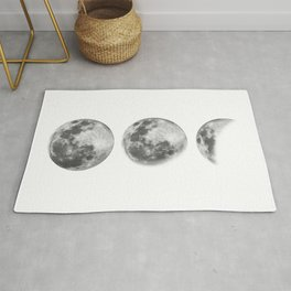 Full Moon cycle black-white photography print new lunar eclipse poster bedroom home wall decor Rug