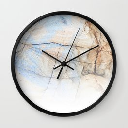 Cotton Latte Marble - Ombre blue and ivory Wall Clock