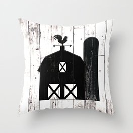 Faux White Wood & Black Barn Throw Pillow