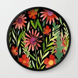 Flower Burst Orange and Black, floral pattern design Wall Clock