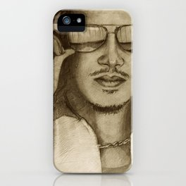 Pencil drawing of famous guitarist, Kirk iPhone Case