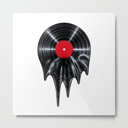 Melting vinyl / 3D render of vinyl record melting Metal Print