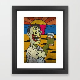 Zombie Drinking a Pint of Beer at Sunset Framed Art Print