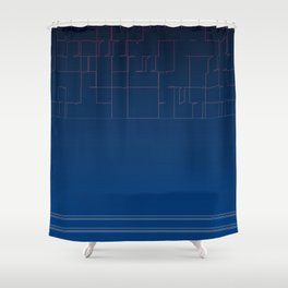 Digital Dark Navy Blue Ombre Fine Lines Shower Curtain