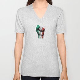 Italian Flag on a Raised Clenched Fist Unisex V-Neck