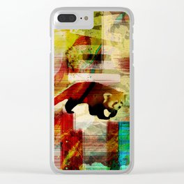 Red Panda Abstract  mixed media art collage Clear iPhone Case
