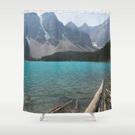 Moraine Lake Logs Shower Curtain