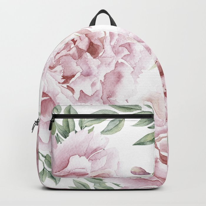 Girly Pastel Pink Roses Garden Rucksack