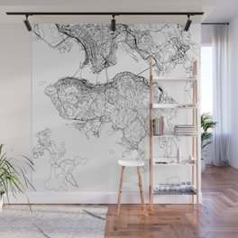 Hong Kong White Map Wall Mural