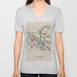Colorful City Maps: Eau Claire, Wisconsin Unisex V-Neck