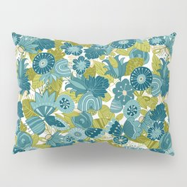 Whimsical Blue and Green Floral Pillow Sham