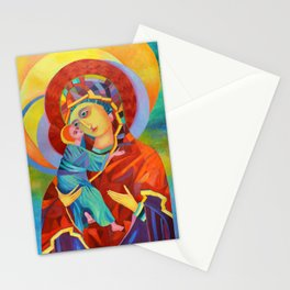 Virgin Mary Painting Madonna and Child Jesus icon Modern Catholic Religious Stationery Cards