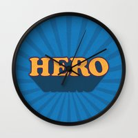 hero Wall Clocks featuring Hero by Word Quirk